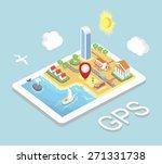 flat map mobile gps navigation  ... | Shutterstock . vector #271331738