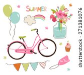 vector set of cute summer party ... | Shutterstock .eps vector #271381076
