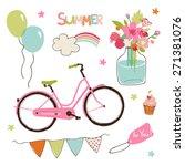 vector set of cute summer party ... | Shutterstock .eps vector #271381076