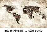 grunge stained map of the world | Shutterstock . vector #271385072