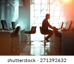 Small photo of Concentrated businessman working in the business room