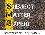 Small photo of Business Acronym SME as Subject Matter Expert. Yellow paint line on the road against asphalt background. Conceptual image