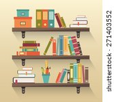 shelves with colorful books in... | Shutterstock .eps vector #271403552