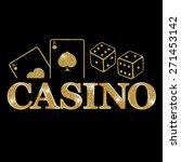 casino   golden emblem or badge  | Shutterstock .eps vector #271453142