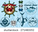 set of templates with crab and... | Shutterstock .eps vector #271483352