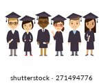 set of diverse college or... | Shutterstock .eps vector #271494776