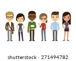 set of diverse college or... | Shutterstock .eps vector #271494782