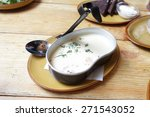 plate of creamy soup with...
