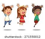 Children Jumping  Vector...