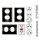 Electrical outlets and faceplates in shiny black - vector set - stock vector