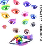 Colorful Stylized Eyes. Hand...