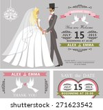 wedding invitation with cartoon ... | Shutterstock .eps vector #271623542