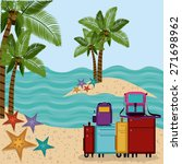 family travel desing over beach ... | Shutterstock .eps vector #271698962