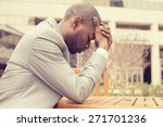 side profile stressed young... | Shutterstock . vector #271701236