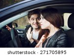 quarrel in the car  the couple... | Shutterstock . vector #271705895