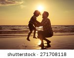 father and son playing on the... | Shutterstock . vector #271708118