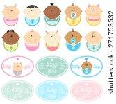 set of babies wearing bibs.... | Shutterstock .eps vector #271753532
