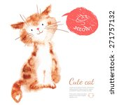 Watercolor Cute Cat Isolated O...