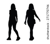 girl walking black silhouette | Shutterstock .eps vector #271770746