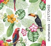 watercolor toucan and parrot.... | Shutterstock . vector #271772432