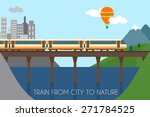 train on railway and bridge.... | Shutterstock .eps vector #271784525