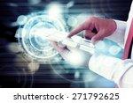 businessman pushing a button on ... | Shutterstock . vector #271792625