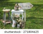 wood hand made welcome wedding... | Shutterstock . vector #271804625