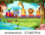 many animals riding on a train | Shutterstock .eps vector #271807916
