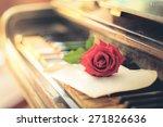 vintage paper  roses and keys... | Shutterstock . vector #271826636