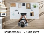 top view  designer sitting at... | Shutterstock . vector #271851095