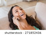pretty brunette calling with... | Shutterstock . vector #271852436
