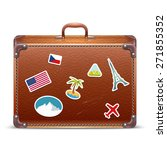 leather suitcase with travel... | Shutterstock . vector #271855352
