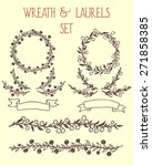 hand drawn wreath  borders and... | Shutterstock .eps vector #271858385