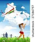 girl flying kite | Shutterstock .eps vector #27186757
