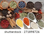 aromatic spices in metal and... | Shutterstock . vector #271898726