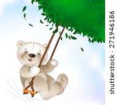 happy teddy bear riding on a...   Shutterstock .eps vector #271946186