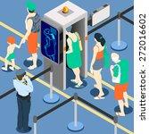 Isometric Queue At Security...