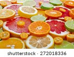 Slices Citrus Top View  Surfac...