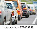 traffic jam in a city street... | Shutterstock . vector #272033252