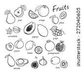 vector seamless fruits set   Shutterstock .eps vector #272040605