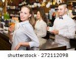 portrait of happy girl with... | Shutterstock . vector #272112098