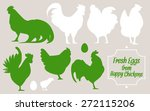 silhouettes of birds. hens and... | Shutterstock .eps vector #272115206
