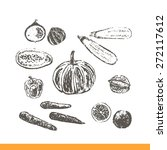 ink hand drawn fruits and... | Shutterstock .eps vector #272117612
