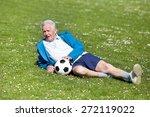 Senior Man With Ball  Lying On...