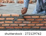 Workers Masonry Clay Brick To...