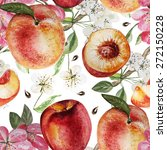 Watercolor Pattern With Peaches ...