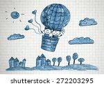happy boy and girl fly in big... | Shutterstock . vector #272203295