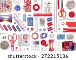 sewing and knitting on white... | Shutterstock . vector #272215136