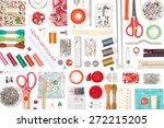 sewing and knitting on white...   Shutterstock . vector #272215205