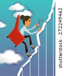 business woman reaching the goal | Shutterstock .eps vector #272249462